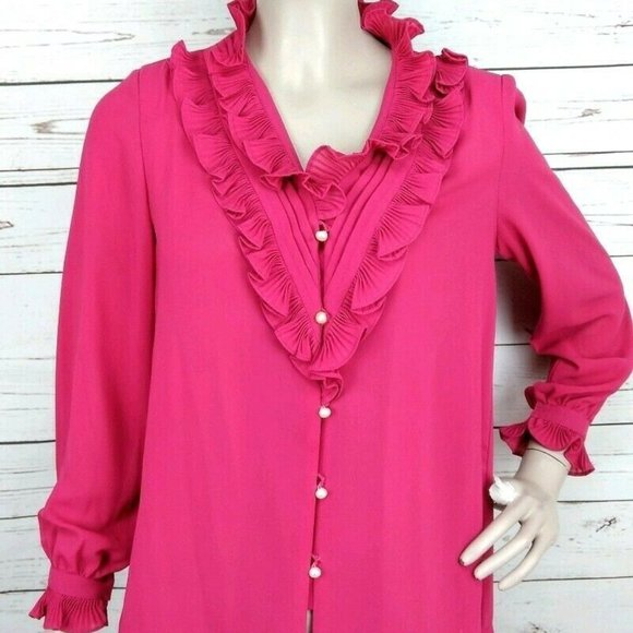 Wing Tat Tops - Vintage 60's Pink Ruffle Neck and Wrist Blouse